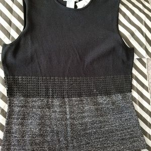 Black/silver sleeveless tank top